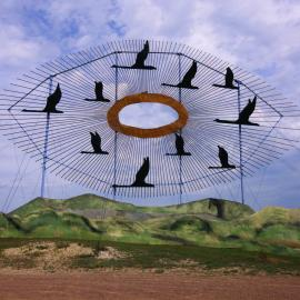 Geese in Flight on Enchanted Highway