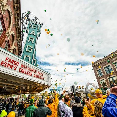 Bison Game Day fans cheering outside